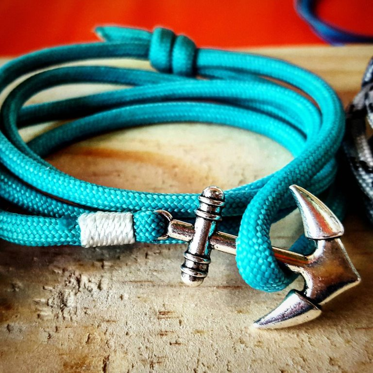 Jade Teal Paracord Anchor Bracelet Nautical EDC Every Day Carry, Anklet