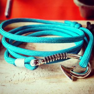 Jade Teal Paracord Fishhook Bracelet Nautical EDC Every Day Carry, Anklet