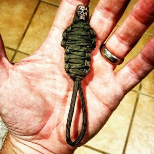 OD Green King Tut Paracord Keychain Mummy with Skull, Paracord Zipper Pull, EDC Gear