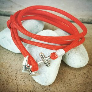 Red Paracord Anchor Bracelet Nautical EDC Every Day Carry, Anklet