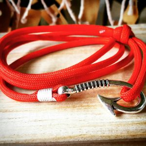 Red Paracord Fishhook Bracelet Nautical EDC Every Day Carry, Anklet