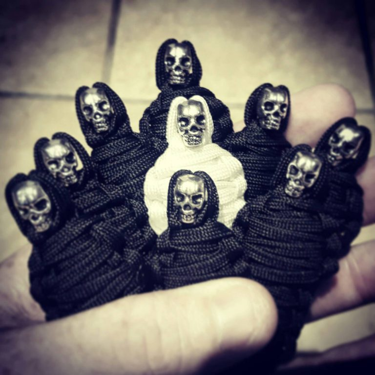 Set Of Nine King Tut Paracord Keychain Mummy with Skull, Paracord Zipper Pull, EDC Gear