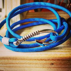 Sky Blue Paracord Fishhook Bracelet Nautical EDC Every Day Carry, Anklet