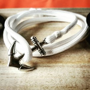 White Paracord Anchor Bracelet Nautical EDC Every Day Carry, Anklet