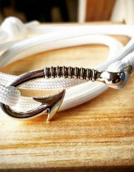White Paracord Fishhook Bracelet Nautical EDC Every Day Carry, Anklet